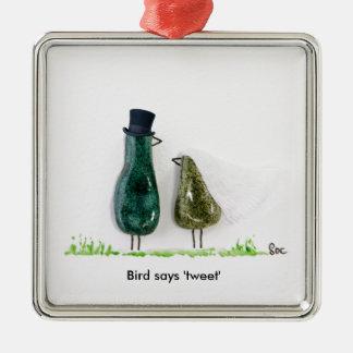 Bird says 'tweet' Wedding couple in green ceramic Square Metal Christmas Ornament