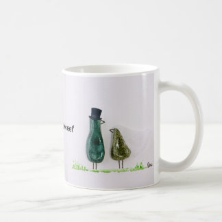 Bird says 'tweet' wedding green ceramic couple classic white coffee mug