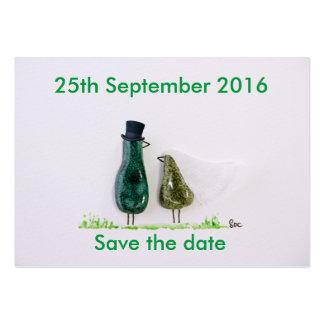 Bird says 'tweet' wedding green ceramic couple large business card