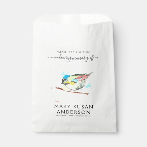Bird Seed Packet Memorial Funeral Favor Bag