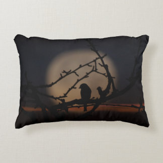 Bird silhouette in the moonlight illustration accent pillow