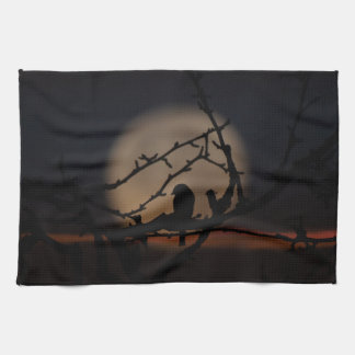 Bird silhouette in the moonlight illustration towel