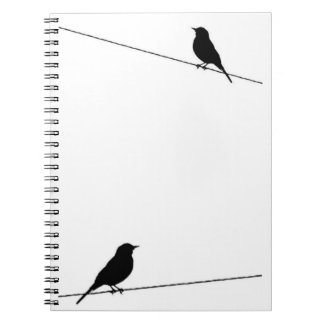 Bird Silhouettes on Wire Notebook