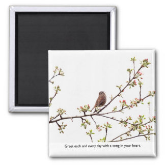 Bird Singing a Happy Song 2 Inch Square Magnet