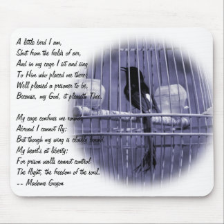 Bird Singing in Cage with Poem Mouse Pad