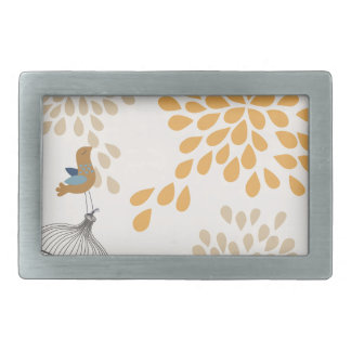 Bird singing outside the cage belt buckle