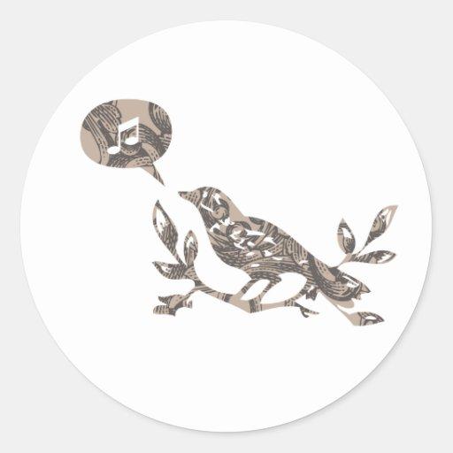 Bird singing pegatina redonda