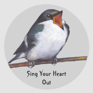 Bird Singing: Sing Your Heart Out: Oil Pastel Art Classic Round Sticker