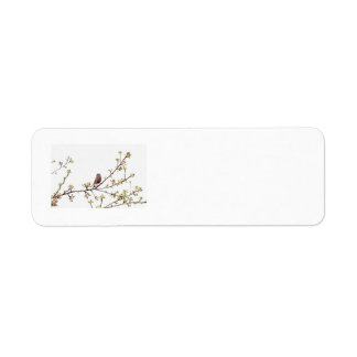 Bird Singing with Spring Flowers Label