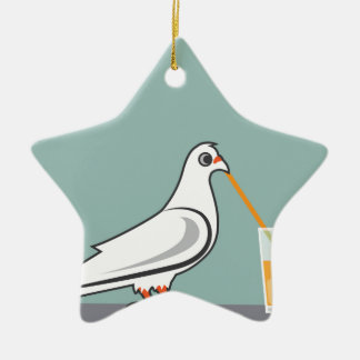 Bird sipping a drink ceramic ornament