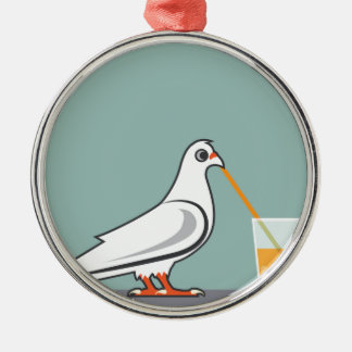 Bird sipping a drink metal ornament