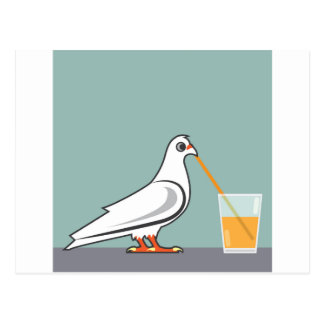 Bird sipping a drink postcard