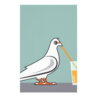 Bird sipping a drink stationery