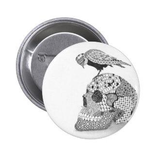 Bird Sitting on a Skull Pin