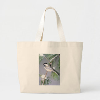 Bird Snow Covered Branch Large Tote Bag