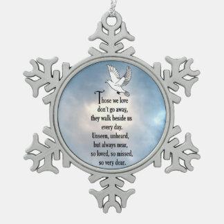 "Bird ""So Loved"" Poem Snowflake Pewter Christmas Ornament"
