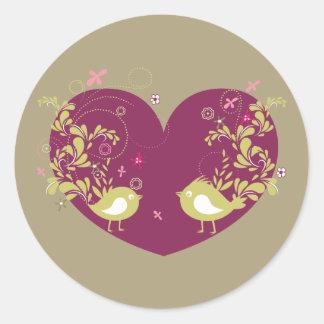 Bird ~ Song Birds Heart Love Scroll Folk Art Classic Round Sticker