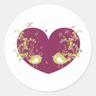 Bird ~ Song Birds Heart Love Scroll Folk Art Sticker