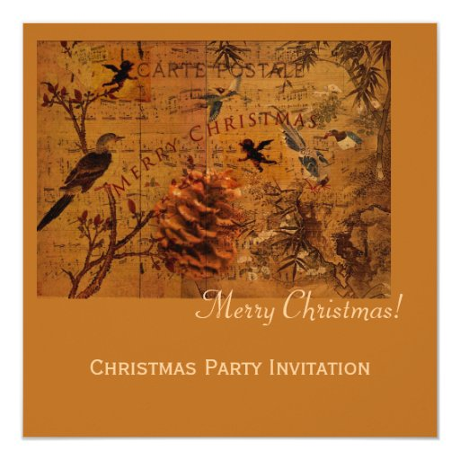 Bird Song Christmas 5.25x5.25 Square Paper Invitation Card