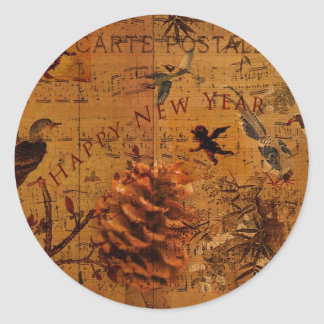 Bird Song New Year Classic Round Sticker