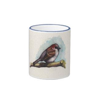 Bird: Sparrow in Watercolor Ringer Mug
