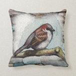 Bird, Sparrow: Watercolor Painting: Rocks, Stones Pillows