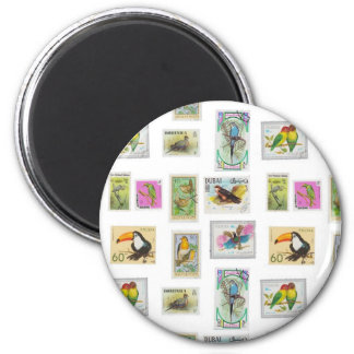 Bird Stamps on White Collections 2 Inch Round Magnet