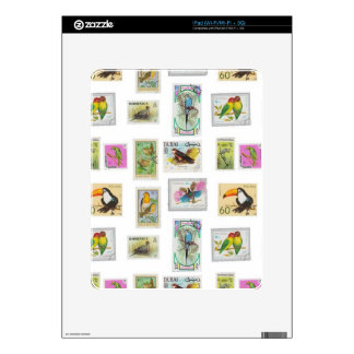 Bird Stamps on White Collections Decals For iPad
