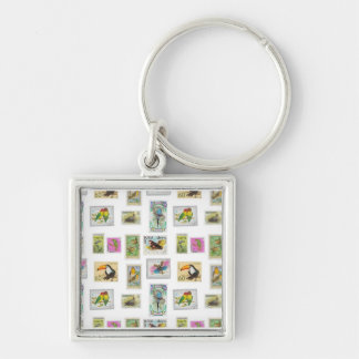Bird Stamps on White Collections Keychains