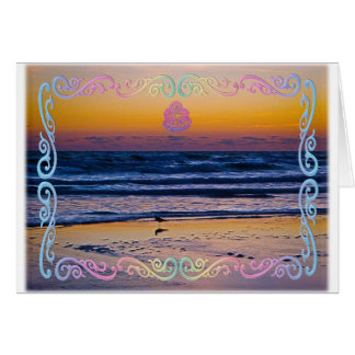 Bird Standing At Waters Edge During Dawn Greeting Card