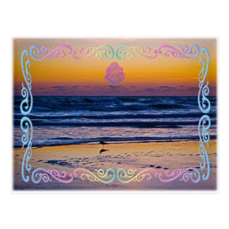 Bird Standing At Waters Edge During Dawn Postcards