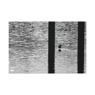 Bird standing in a lake canvas print