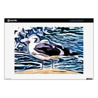 bird standing on sand near ocean painting skins for laptops