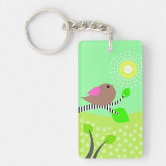 Bird Sun Day Night Rectangle Acrylic Keychains