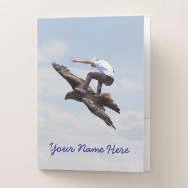 Beach Themed Bird Surfing Pocket Folder