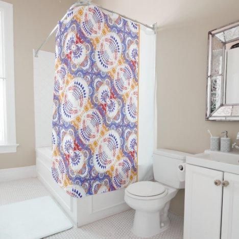 Bird Tails Fractal Tile Blue ID716 Shower Curtain