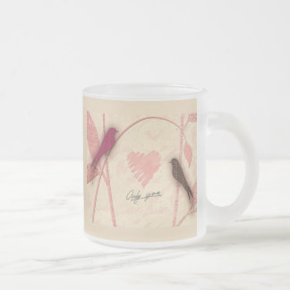 Bird Talk 10 Oz Frosted Glass Coffee Mug