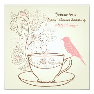 "Bird, Teacup, Flowers Baby Shower Invite ~ Girls 5.25"" Square Invitation Card"