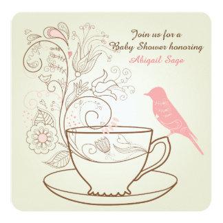 Bird, Teacup, Flowers Baby Shower Invite ~ Girls