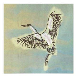 Bird Thank You Card Wild Heron Flying in the Sky