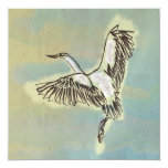 Bird Thank You Card Wild Heron Flying in the Sky