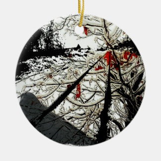 Bird & Train Track Tshirt Ceramic Ornament