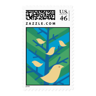 Bird Tree Postage Stamps