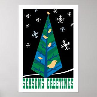 Bird Tree Season's Greetings Poster