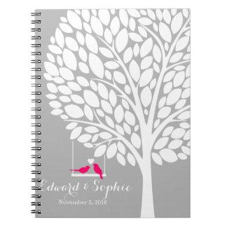 bird tree wedding guest book planner note pink spiral notebook