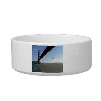 Bird under Golden Gate bridge Cat Water Bowls