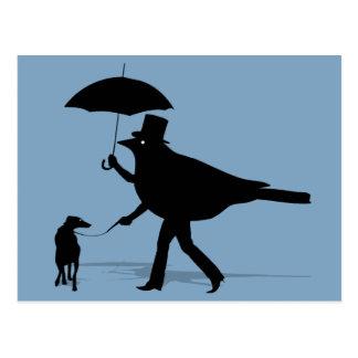 Bird Walking a Dog Postcard