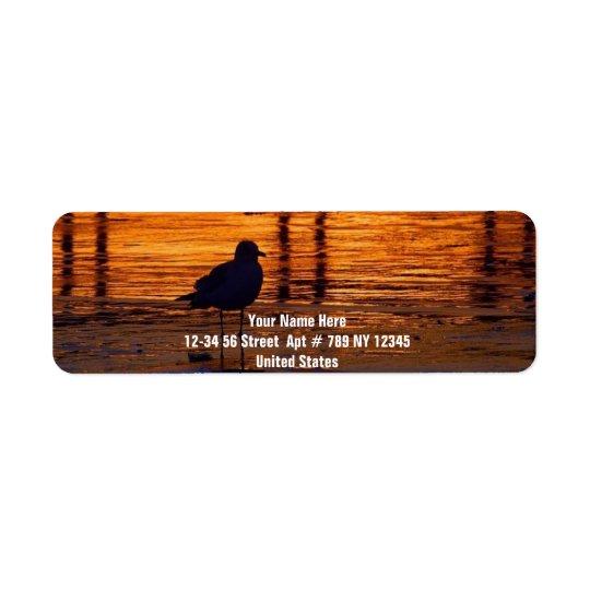 Bird Walking at Sunset Label