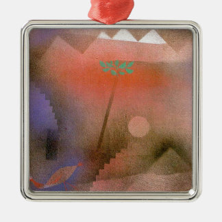 Bird Wandering Off by Paul Klee Square Metal Christmas Ornament
