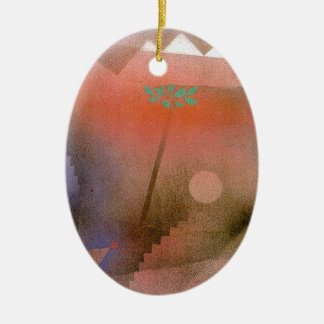 Bird Wandering Off by Paul Klee Double-Sided Oval Ceramic Christmas Ornament